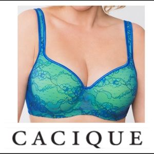 🌷 Cacique Green & Blue Lace Bra 🌷